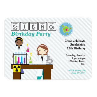 Science Birthday Party Girls Card