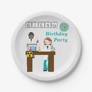 Science Birthday Party Girls Paper Plate