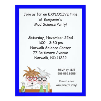 Science Birthday Party Invitation Chemistry