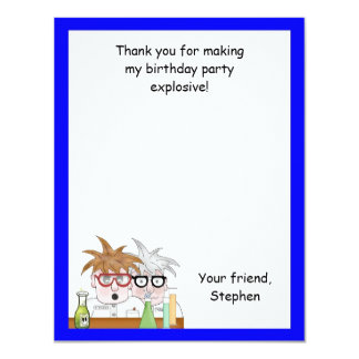 Science Birthday Party Thank You Note Chemist Card