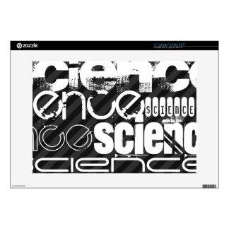 """Science; Black & Dark Gray Stripes 15"""" Laptop Skins"""