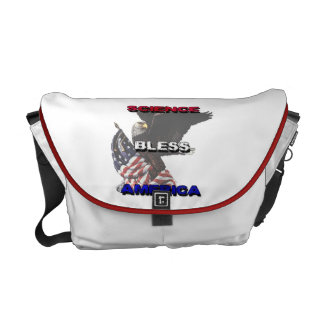 Science Bless America American Flag And Bald Eagle Messenger Bags