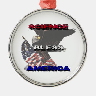 Science Bless America American Flag And Bald Eagle Round Metal Christmas Ornament