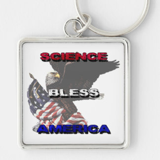 Science Bless America American Flag And Bald Eagle Silver-Colored Square Keychain