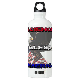 Science Bless America American Flag And Bald Eagle Water Bottle