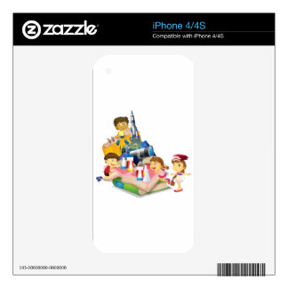 Science book with children and equipment iPhone 4S skin