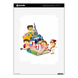 Science book with children and equipment skins for iPad 3
