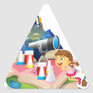 Science book with children and equipment triangle sticker