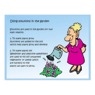 Science, Chemistry, Solutions in the garden Postcard