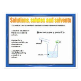 Science, Chemistry, Solutions, Solutes, Solvents Postcard