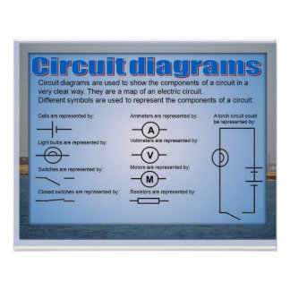 Science, Electricity, circuit diagrams Print