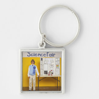 Science fair winner Silver-Colored square keychain