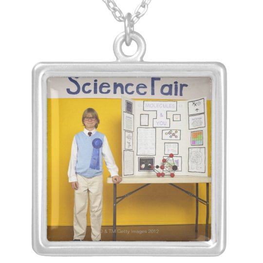 Science fair winner silver plated necklace