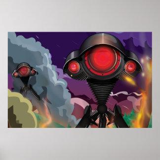 Science Fiction Alien Tripod Attack! Poster