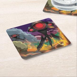 Science Fiction Alien Tripod Attack! Square Paper Coaster