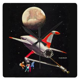 Science Fiction Galaxy Spaceship Astronauts Mars Square Wall Clocks