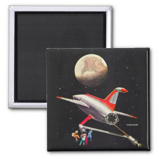 Science Fiction Galaxy Spaceship Astronauts Mars Fridge Magnet
