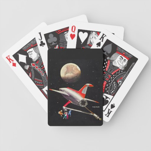 Science Fiction Galaxy Spaceship Astronauts Mars Bicycle Playing Cards