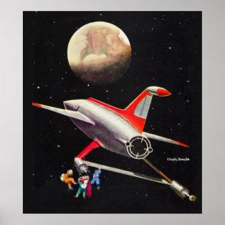 Science Fiction Galaxy Spaceship Astronauts Mars Poster
