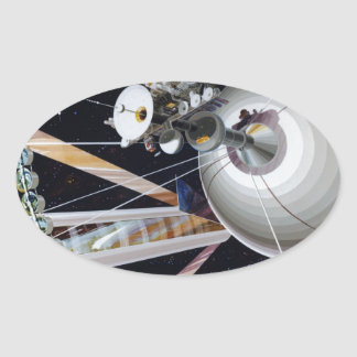 Science Fiction Space Station of Future Oval Sticker