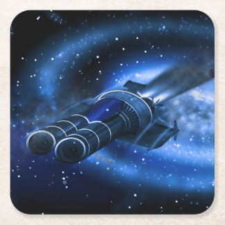 Science Fiction Spaceships Square Paper Coaster
