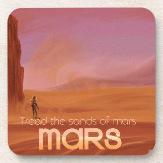 Science Fiction Vintage Mars Vacation Illustration Beverage Coaster