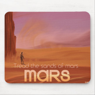 Science Fiction Vintage Mars Vacation Illustration Mouse Pad