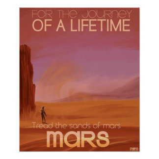 Science Fiction Vintage Mars Vacation Illustration Poster