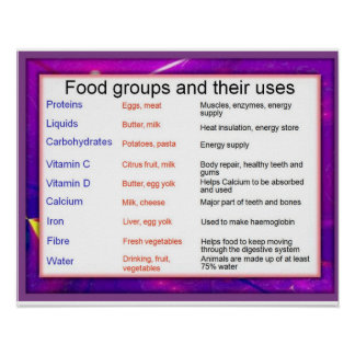 Science, Food groups and their uses Poster