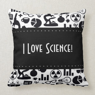 Science for Scientist Pattern (Black and White) Throw Pillow