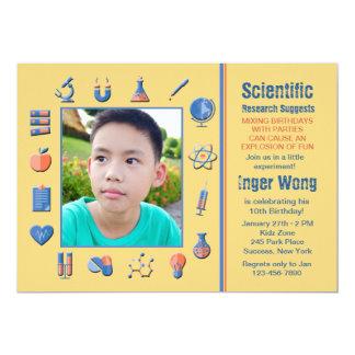 "Science Frame Birthday Party Invitation 5"" X 7"" Invitation Card"