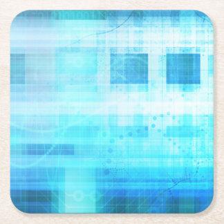 Science Futuristic Internet Computer Technology Square Paper Coaster