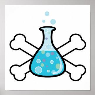 science geek beaker and crossbones design poster