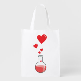 Science Geek Flask Of Hearts Reusable Grocery Bag
