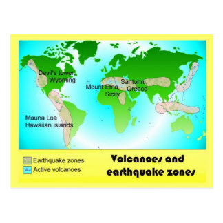 Science, Geography, Volcanoes and Earthquake zones Post Card