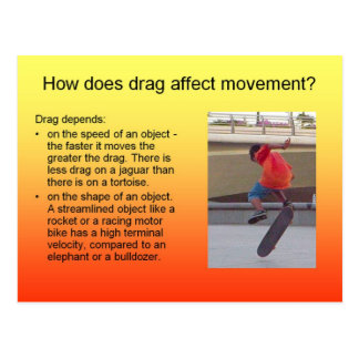 Science, How does drag affect movement? Postcard