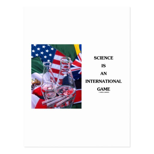 Science Is An International Game (Flasks Flags) Postcard
