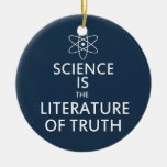 Science is the Literature of Truth in Blue Double-Sided Ceramic Round Christmas Ornament