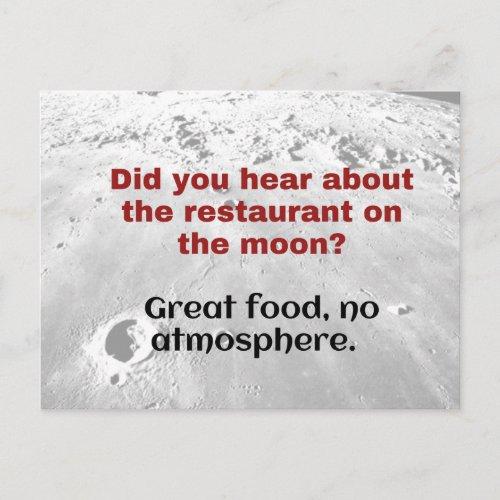 Science Joke Dad Joke postcard Moon