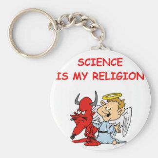 science basic round button keychain