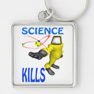 Science Kills Silver-Colored Square Keychain
