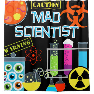 Science Lab Mad Scientist Kids Shower Curtain