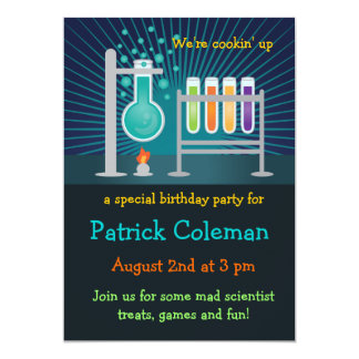 "Science Laboratory Birthday Invitation 5"" X 7"" Invitation Card"