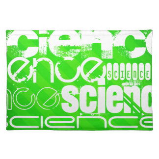 Science; Neon Green Stripes Cloth Place Mat