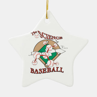 science of baseball molecular graphic Double-Sided star ceramic christmas ornament