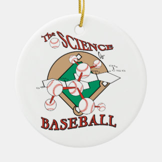 science of baseball molecular graphic Double-Sided ceramic round christmas ornament