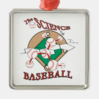 science of baseball molecular graphic square metal christmas ornament