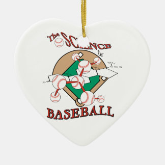 science of baseball molecular graphic Double-Sided heart ceramic christmas ornament