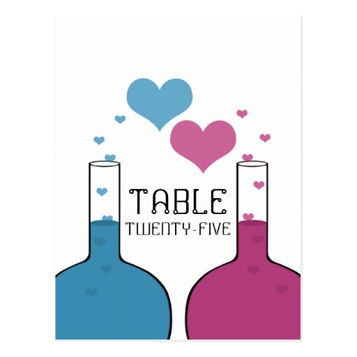 Science of Love Table Number Postcard