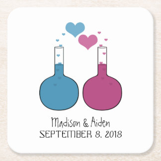 Science of Love Wedding Paper Coasters Square Paper Coaster